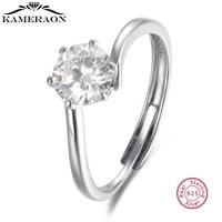 100 925 sterling silver open adjustable ring moissanite finger rings fine jewelry for women wedding engagement ring