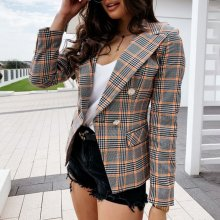 Women Blazer Coat Double Breasted Plaid Blazer Women Long Sleeve Slim OL Blazer Casual Autumn Jacket