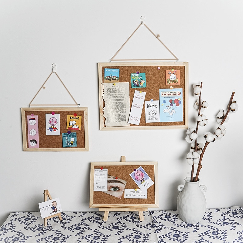 Softwood Letter Message Board Decorated Postcard Photo Display Shelf Cork Memo Board