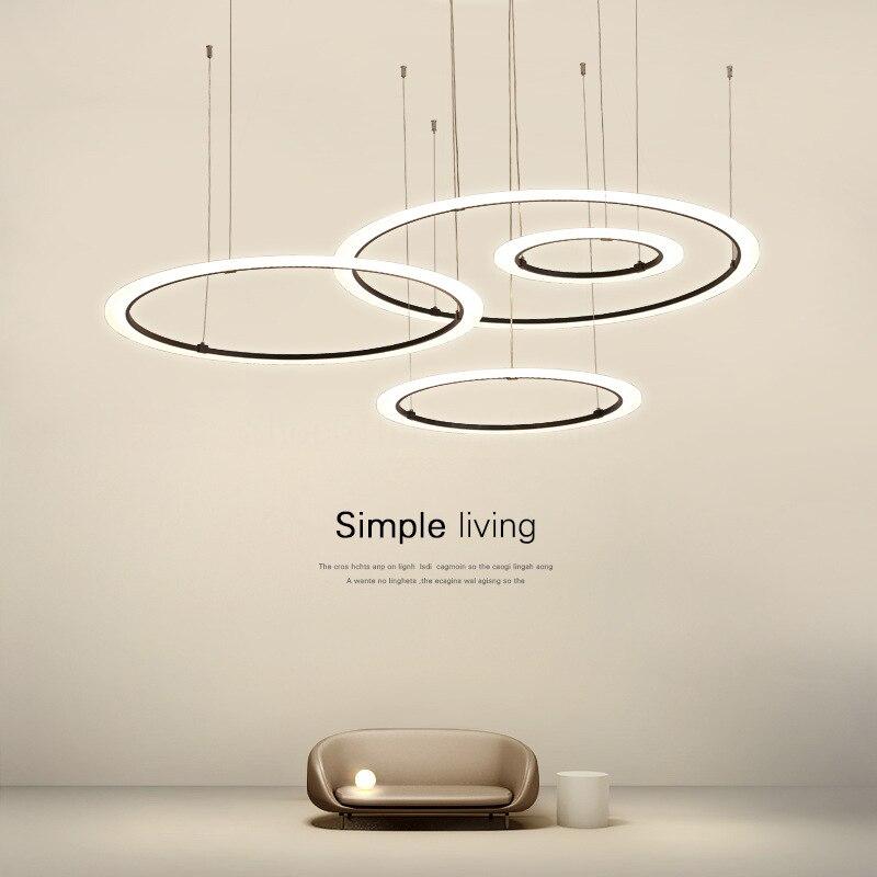 حلقة الحديثة الاكريليك ثريا تركب بالسقف لغرفة المعيشة الديكور غرفة نوم قلادة أضواء تركيبات خواتم أسود أبيض معلقة مصباح