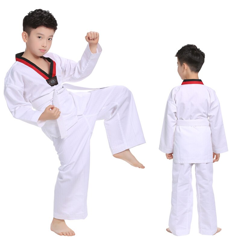 white taekwondo uniforms wtf karate judo taekwondo dobok clothes children adult unisex long sleeve tkd clothing White TAEKWONDO UNIFORM  Judo TAEKWONDO UNIFORM Children's Adult Men's and Women's Spring and Autumn Unisex Long Sleeved Clothes