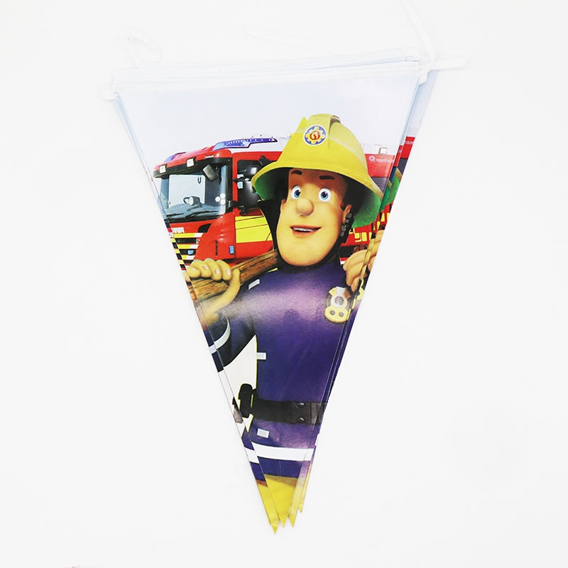 10 unids/pack banners fiesta bombero Sam decoraciones de fiesta temáticas baby shower party suministros bombero Sam banderas de temática de fiesta