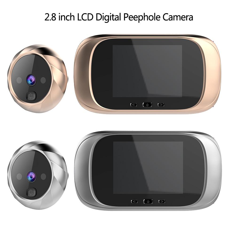 2.8 بوصة LCD شاشة ملونة جرس الباب الرقمي 90 درجة باب العين جرس الباب الإلكترونية ثقب الباب كاميرا المشاهد في الهواء الطلق جرس الباب