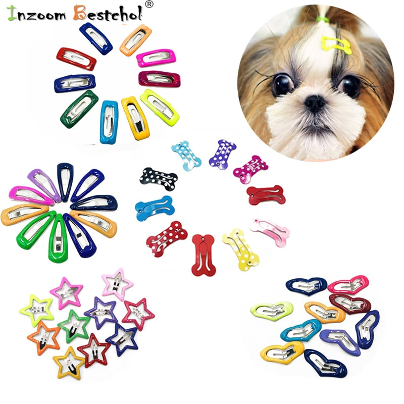 10pcs/lot Start Pet Dog Hairpin Small Puppy Cat Hair Clips Pet Hair for Chihuahua Pug Grooming Dog A