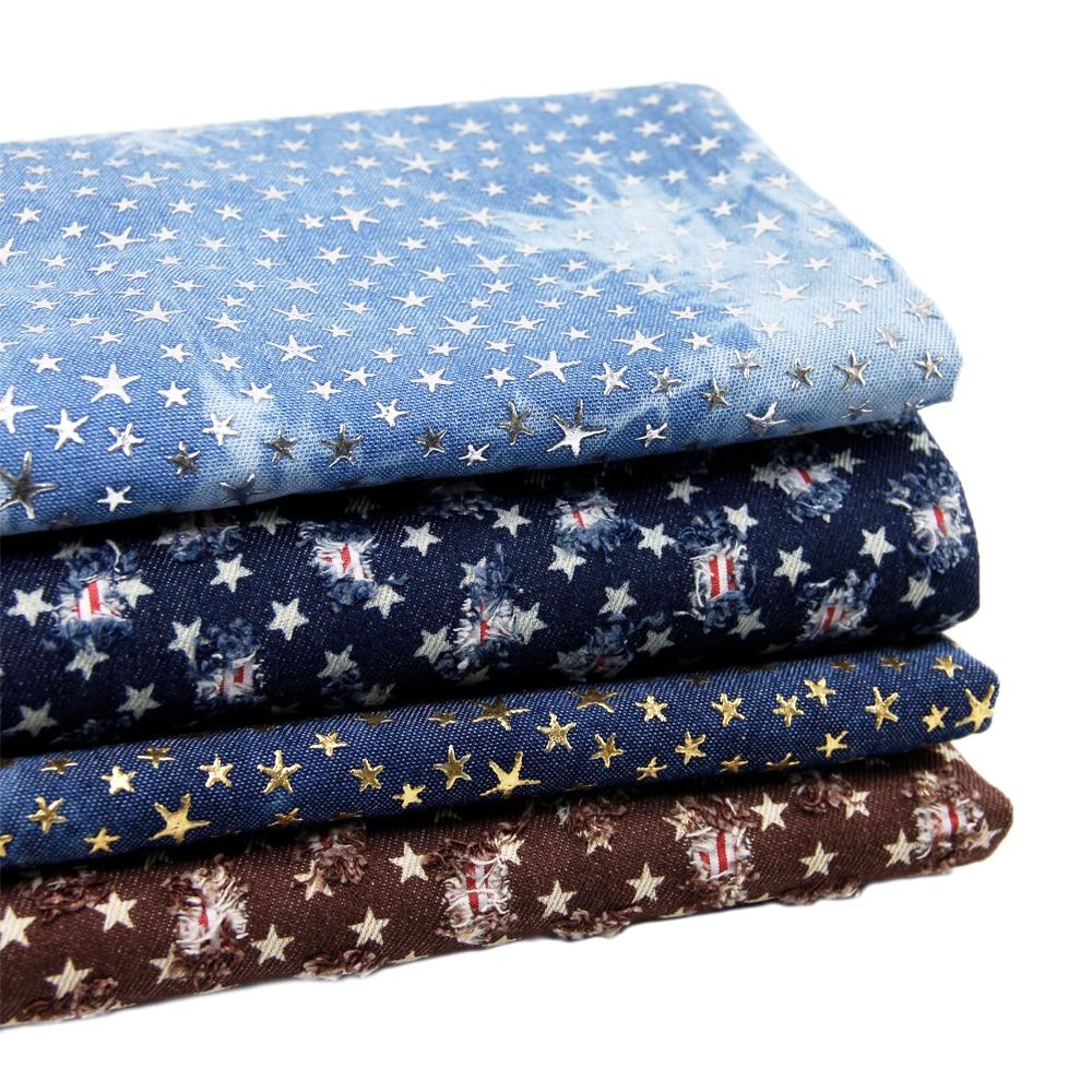 50*147 cm tela 100% algodão denim estrela buraco para tecido crianças roupa de cama casa têxtil para costurar tilda boneca, c935