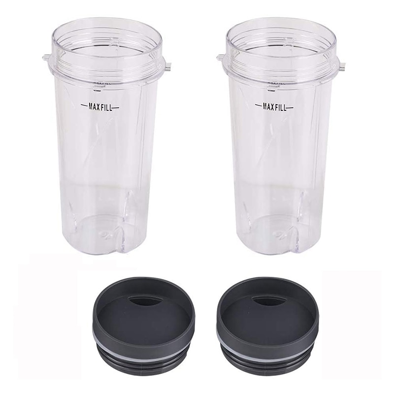 Single Cups with Lid , Replacement Parts Compatible for Nutri Ninja BL660 BL770 BL740 BL810 BL830 Professional Blender