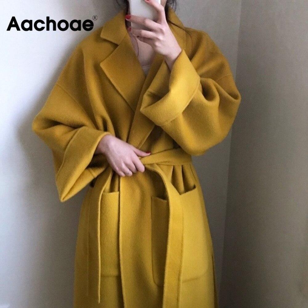 Aachoae Elegant Solid Long Wool Coat Women Batwing Long Sleeve Loose Pocket Coat Split Hem Chic Styl