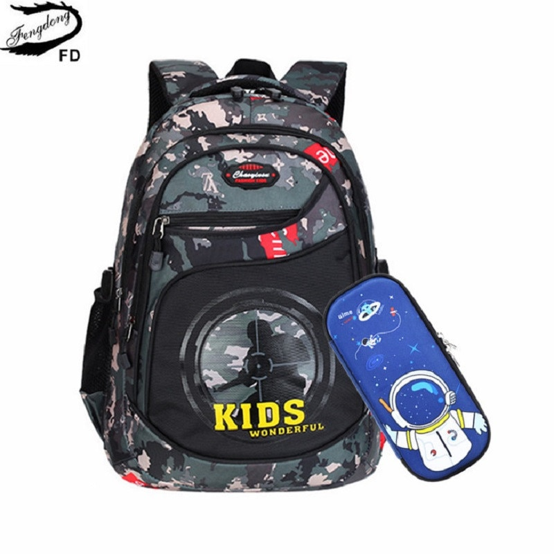 Fengdong primary school bags for boys waterproof camouflage backpack pen pencil stationery bag set c