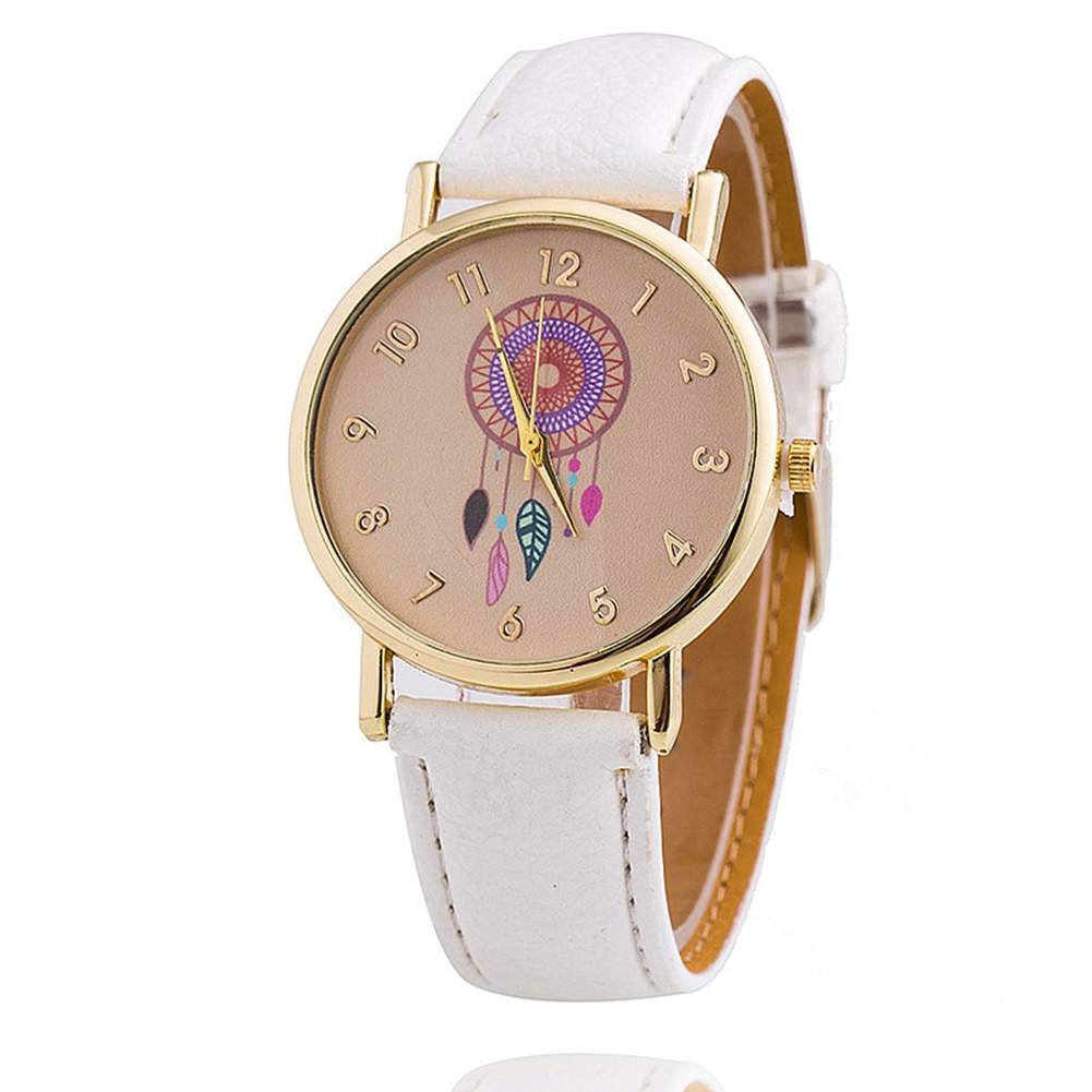 Casual Analog Quartz Watch Accurate Time Round Dial Elegant Wind Chime Pattern PU Belt Office Alloy
