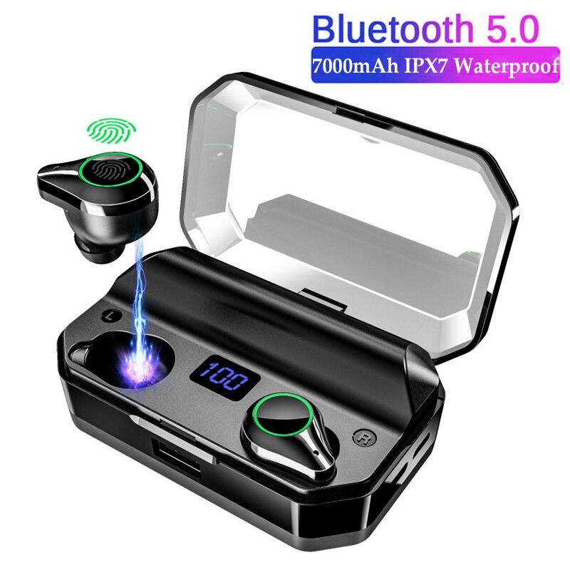 T9 TWS auricular Bluetooth IPX7, auriculares estéreo inalámbricos impermeables, pantalla Digital de potencia LED con caja de carga de 7000 mAh, Banco de energía