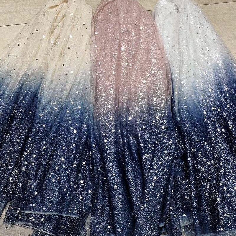 Moda gradiente macio malha estrela lantejoulas bronzeamento tule tecido de renda para costura roupas saia/feminino festa casamento vestido meterial