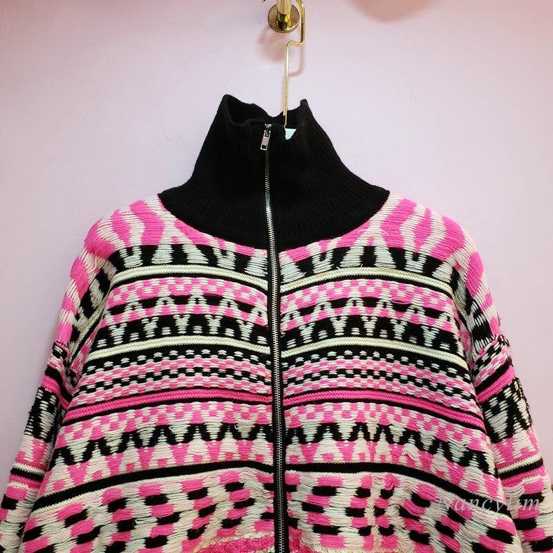 Zipper Cardigan Women 2021 Autumn New Fashion High Collar Long-Sleeved Knitted Coat Femme Knitwear enlarge