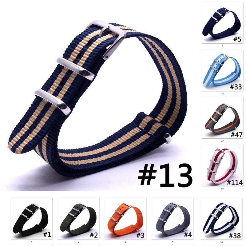 10Pcs/Lot 16/18/20/22/24mm Woven Nylon Watchbands Nato Substitute DW Bracelet Fabric Woven Watch Strap