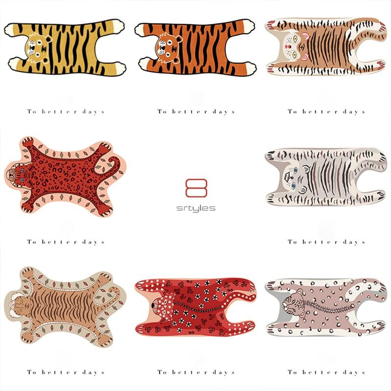 Купить с кэшбэком Cute Tiger Printed Rug Nordic Style Funny Plush Cartoon Leopard Tiger Printed Antiskid Floor Mat Creative Room Decor Carpet