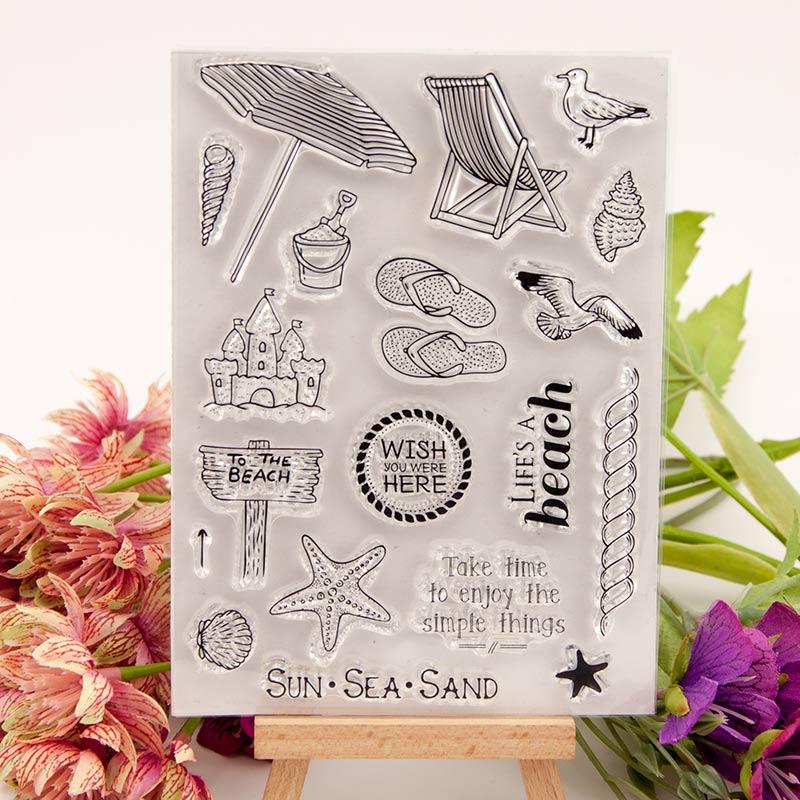 Пляжный отдых откидной прозрачный силиконовый штамп/печать для DIY скрапбукинга/фото декоративная открытка для альбома