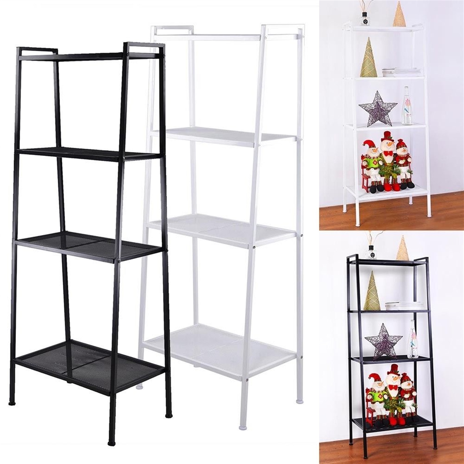 ladder bookcase black small langria 4 tier shelves ladder bookcase storage and display standing shelving unit 34 x30 cm x 148cm Bookshelf Bookcase 4-Tier Modern Ladder Shelf High Quality Iron Multipurpose Storage Rack Industrial Metal Easy Install
