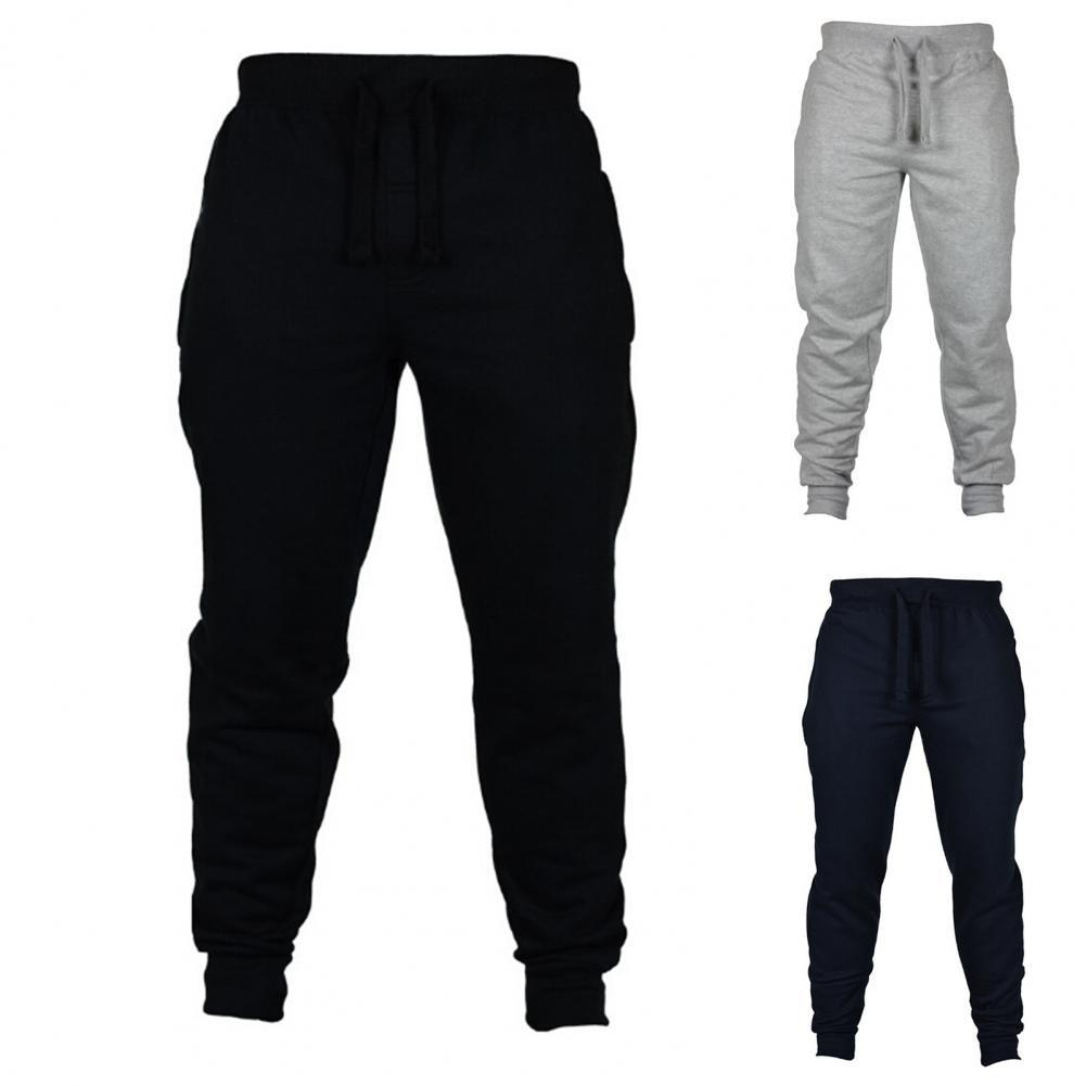 Men Jogger Solid Color Drawstring Plush Thick Warm Pants Sweatpants Trousers Casual Pants мужские комплекты 2021