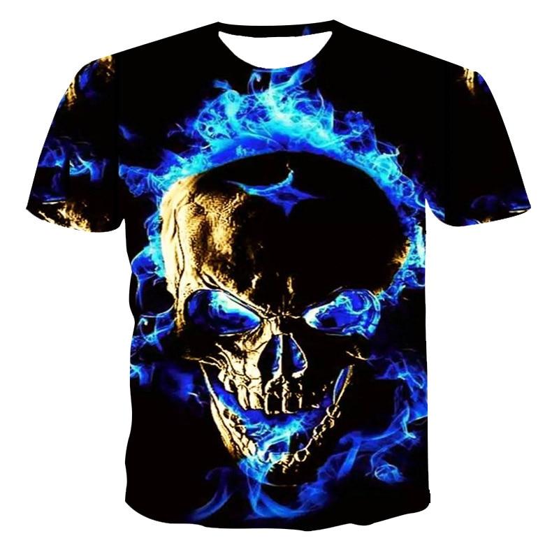 Fashion Summer T-Shirt Men 2021 3D Skull Printing Men's T-Shirt Breathable Streetwear Splicing Printing T Shirt Men Size XXS-6XL