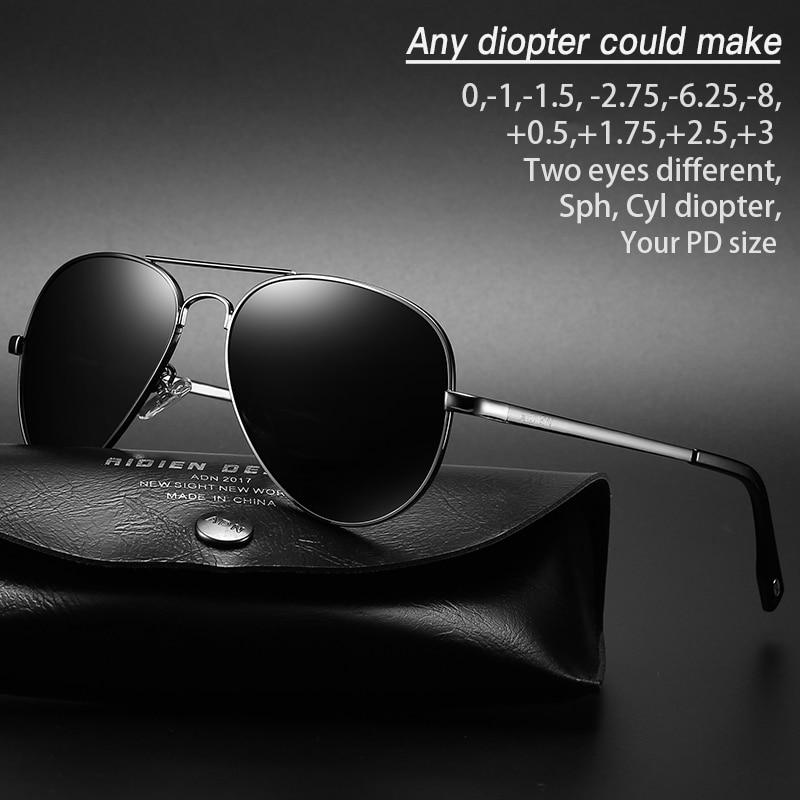 Myopia sunglasses diopter Polarized oversize prescription aviation sun glasses for nearsighted men w