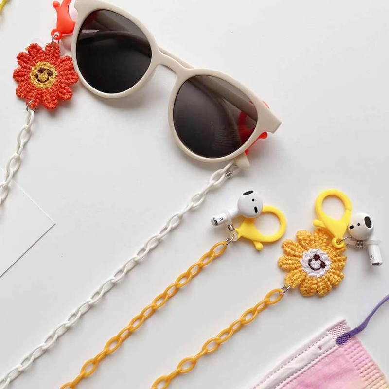 Child Bright Acrylic Candy Flower Sunglasses Chain Straps Lanyards Transparent Color Reading Glasses Hanging Neck Glasses Chain