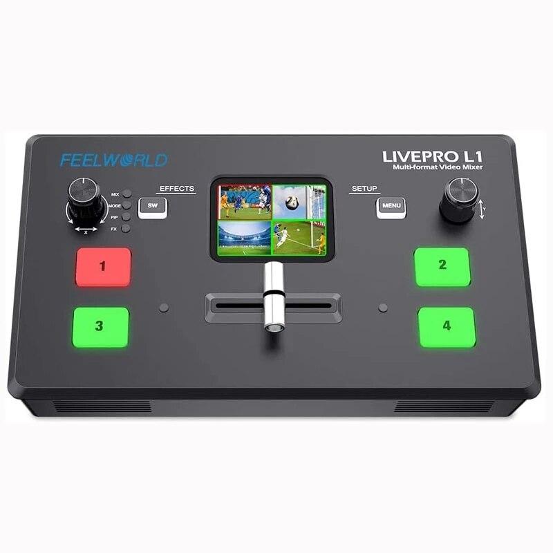 Feel world LIVEPRO L1 V1 متعددة كاميرا فيديو خلاط الجلاد 2 بوصة شاشة الكريستال السائل 4 x HDMI المدخلات USB 3.0 تنسيق الإخراج في الوقت الحقيقي