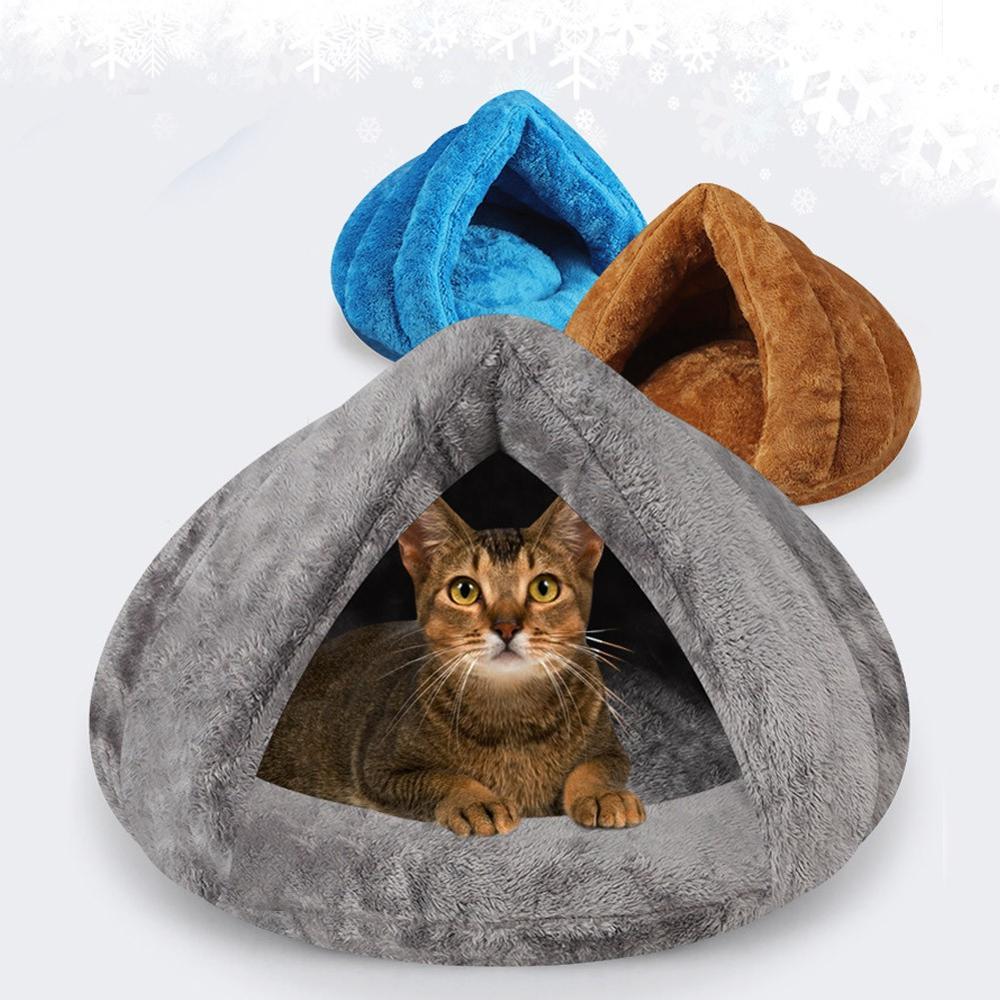 Mascota perro gato Thicken camas alfombras almohadillas suave cómodo interior cojín perrera sólido saco de dormir invierno cálido cueva iglú cesta casa gatito
