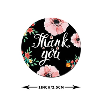 500pcs/Roll Round Floral Thank You Sealed Label Sticker 10