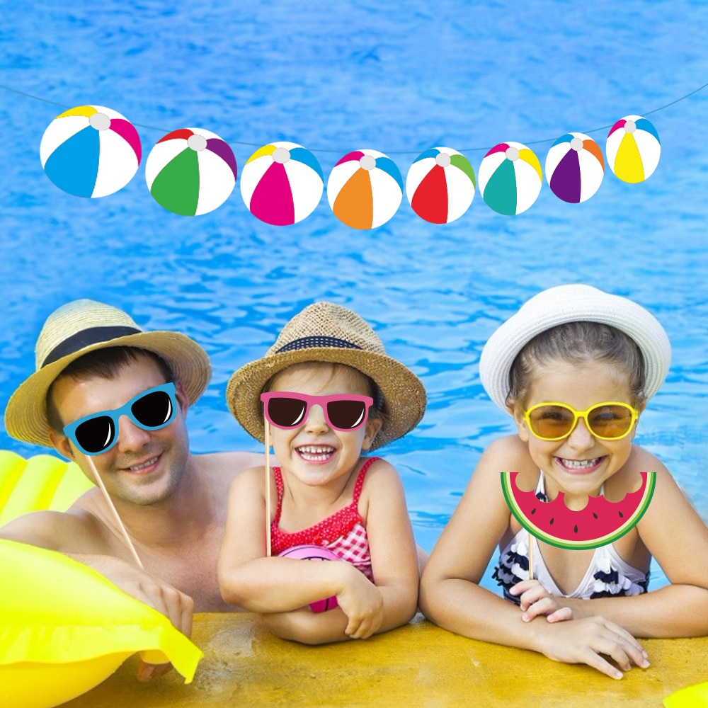 Swimming Pool Theme Birthday Party Favors Decoration Kids Happy Birthday Wall Hanging Banner Baby Shower Party Supplies