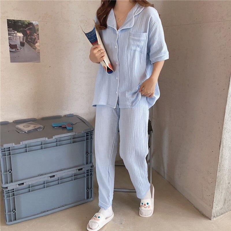 Spring Cotton crepe women sleep pajamas set ladies short sleeve PJ pyjamas sets casual solid sleepwe