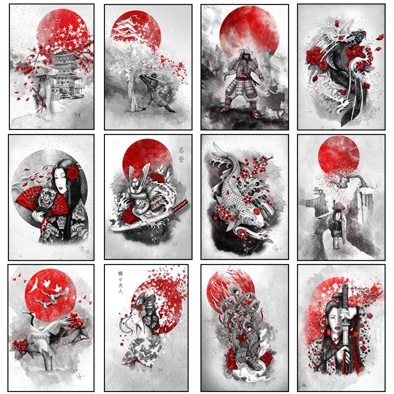Японская живопись дзен чернилами, художественные плакаты и картины на холсте, самурайский кандзи, настенные художественные принты для укра...