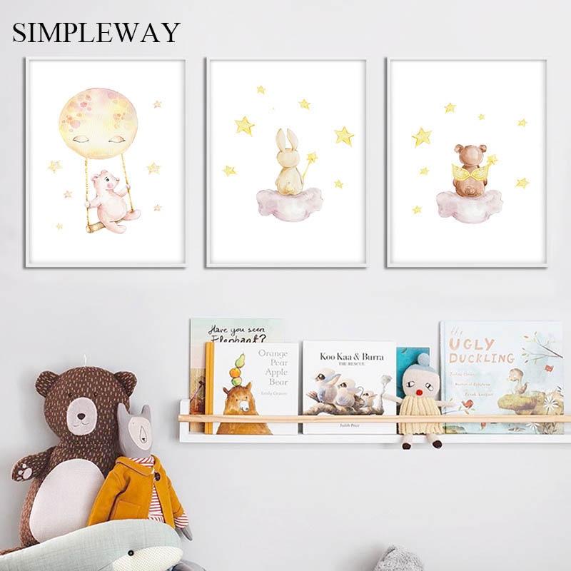 Lienzo de guardería, arte de pared, impresión Animal, globo de dibujos animados, imagen de conejo, estampado de oso, pintura nórdica, póster para niños, decoración dormitorio infantil
