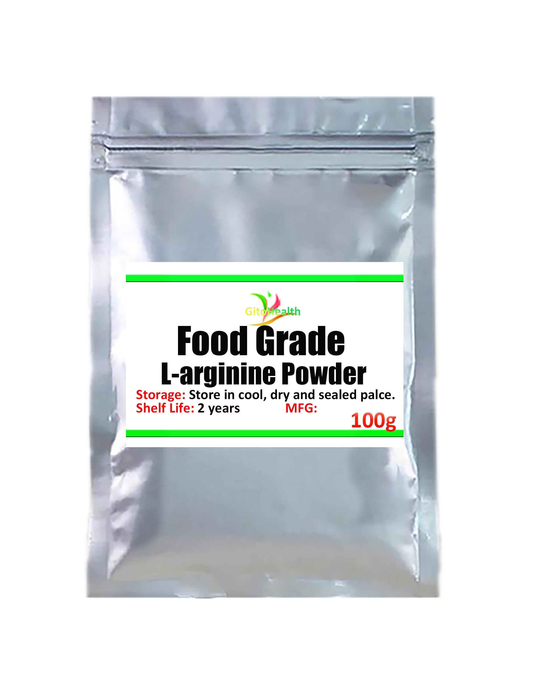 50g-1000g food grade high purity. L-arginine powder, L-arginine powder, essential amino acid nutritional supplements. Promote th