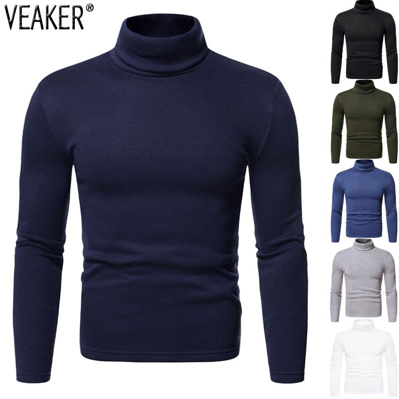 2020 neue männer Einfarbig Rollkragen T Hemd Männlichen Casual High Neck T Shirts Herbst Dünne Fleece Slim Fit langarm t-shirt Tops