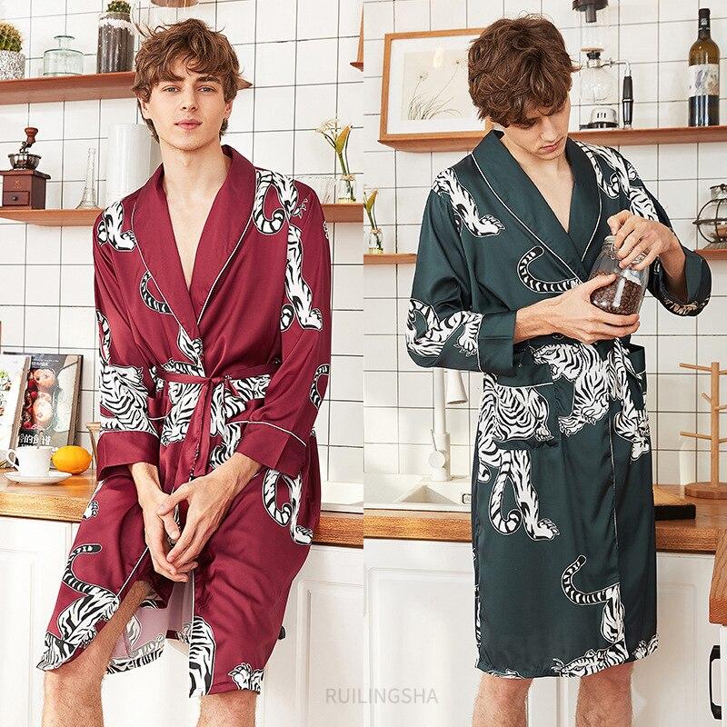 Роскошная дизайнерская шелковая мужская одежда в виде дракона, Мужская мягкая одежда для сна, Мужская атласная ночная рубашка большого раз...