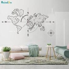 Autocollant de carte du monde Large   Stickers muraux en vinyle de la boussole et de la terre pour voyage, Exploration globale, Décor artistique, YT2189