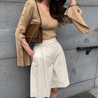 korean fashion white v neck slim sweater women 2021 autumn winter singel breasted split long sleeve chic knit pullovers top
