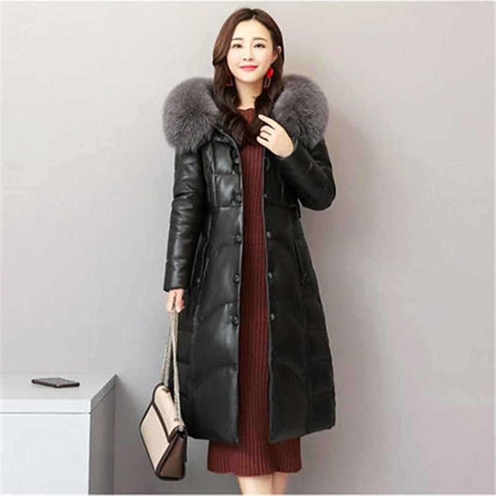 2020 new fur fur fur fur like fox collar women's coat medium long hooded cotton thickened Pu slim fit фото