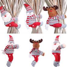 Christmas Curtain Holder Merry Christmas Decorations for Home Ornaments New Year Santa Claus Xmas Curtain Home Decor