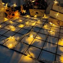 Kryty girlanda z lampkami w kształcie gwiazdek, spotkać gwiaździstej nocy w dowolnym miejscu. Dekoracyjne światła dla dziewcząt sypialnia, ślub na ścianie i Ramadan 32 ft