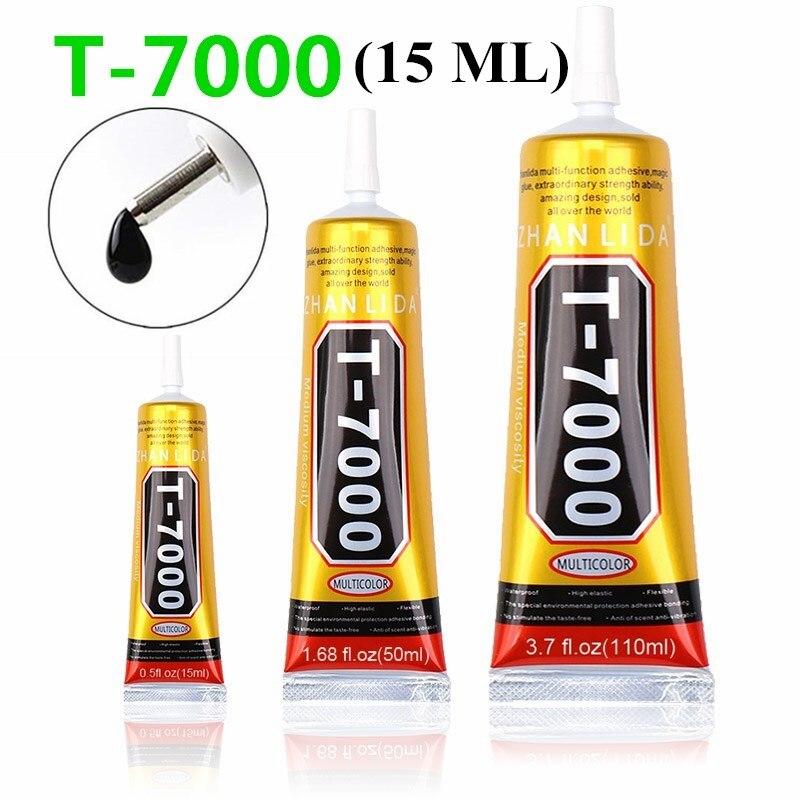 Adhesivos multiusos para manualidades, súper pegamento T-7000, negro, líquido, epoxi, para manualidades, funda de teléfono, tela de Metal, 15ml, T7000