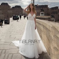 yilibere lace boho wedding dress simple retro v neck bridal dresses sleeveless lace tailing sling backless elegant custom made