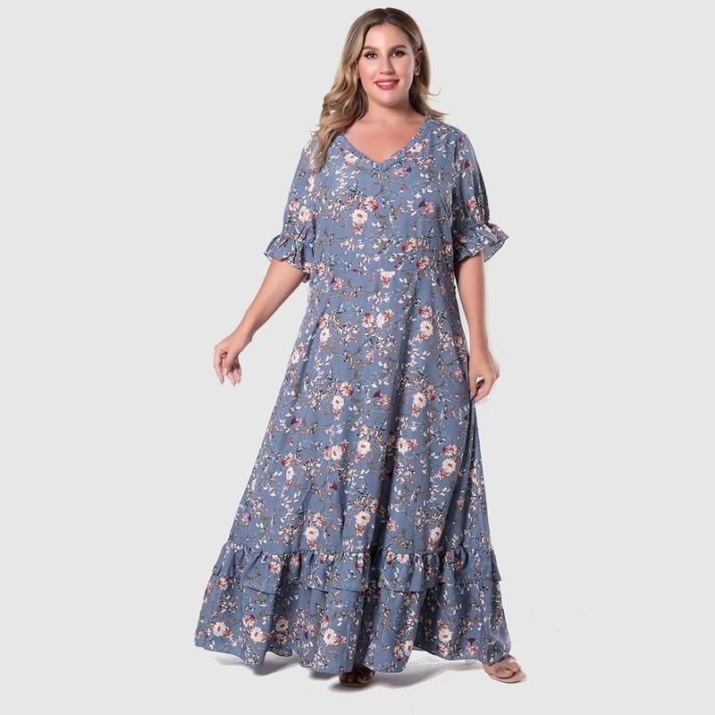 Женское винтажное платье-туника в стиле бохо, Элегантное Длинное платье с цветочным узором, летнее платье большого размера 4XL, 2021