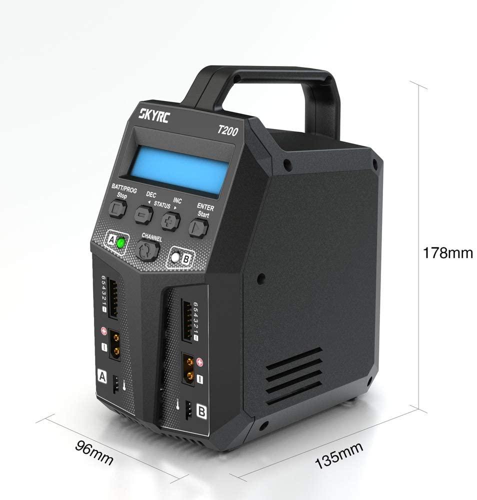 SKYRC T200 Balance Charger 12A 100W Dual XT60 Plug 10W Discharger for LiHV LiPo Li-ion LiFe NiMH NiCD Pb Battery AGM Cold Modes enlarge