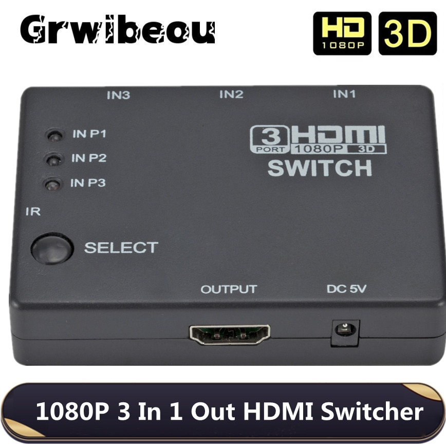 3x1 HDMI Switcher 3 Port Hub Box Auto Switch In 1 Out Splitter 1080p HD 1.4 With Remote Control for HDTV XBOX360 PS3 Projector