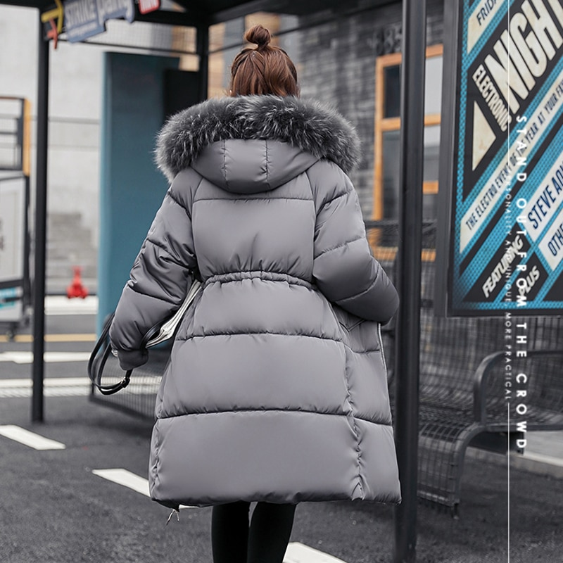 Long Slim Winter Coat for Women Solid Hooded Jacket Female Thick Warm Parkas Big Fur Collar Outerwea