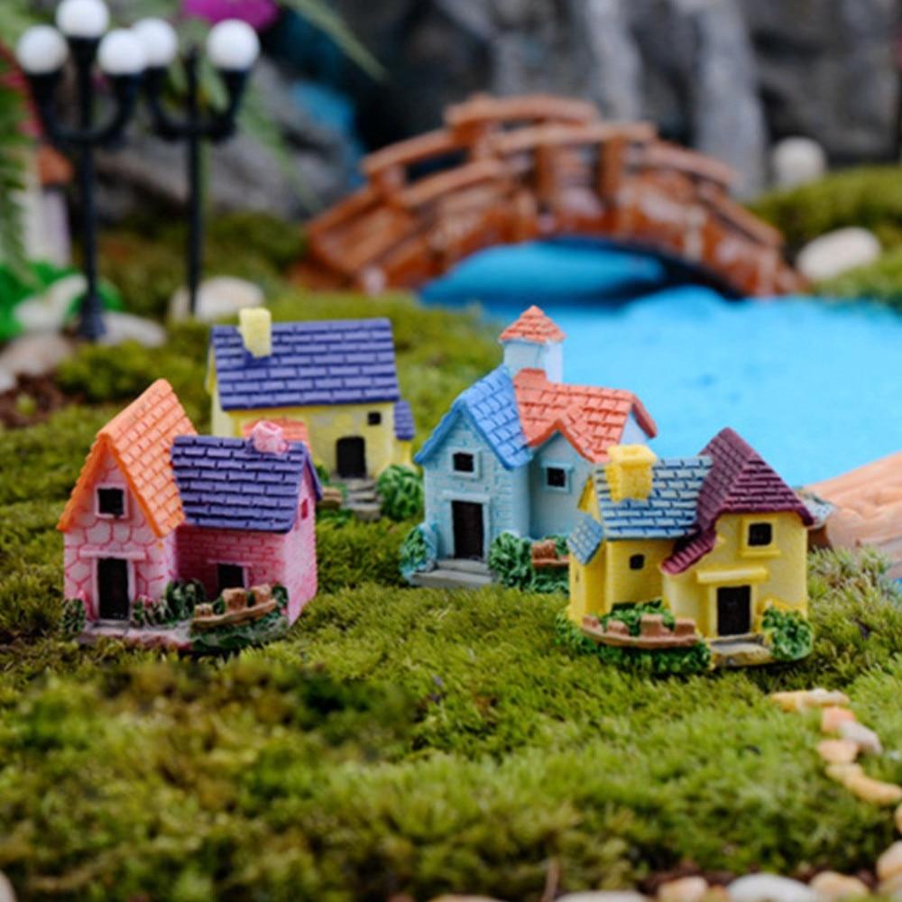 Mini lindo resina casa miniatura Casa de jardín de hadas de manualidades para micropaisajes accesorios de decoración miniatura decoración de figuritas casa C1029