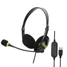 Komfortable USB Kopfhörer Für Computer Mit HD Mikrofon Multi-Schlüssel Frauen PC Wired Headset Arbeits Gaming Stereo Kopfhörer
