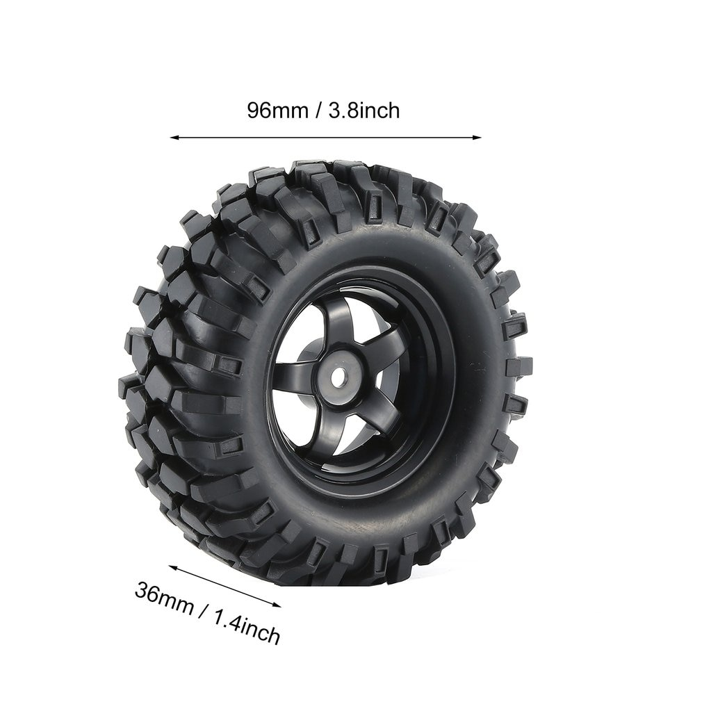 4Pcs Black 1:10 RC Car Rubber Tires & Wheel Rims for Off Road RC Crawler Buggy Abrasion Resistance Replacement Model Accessory enlarge