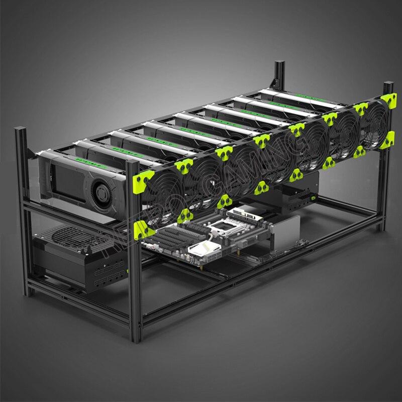 Equipment Miner Mining Aluminum Alloy Stackable Open-air Box 8GPU Computer Rack Device for Ethereum Veddha Bitcon Suite BTH BTC