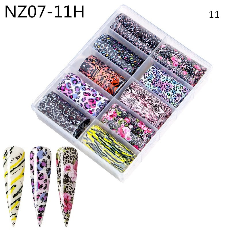 Купить с кэшбэком 10Rolls/Set Holographic Nail Foil Transparent AB Color Nail Art Transfer Sticker 4*100cm Manicure DIY Tips Sticker Decorations